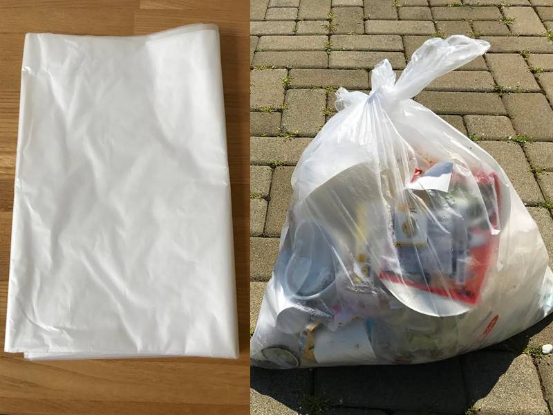 ゴミ袋回収無料(燃えるゴミ・ビン・カン・ペットボトルの2つに分別してください)